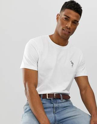 Selected t-shirt with flamingo embroidery-White
