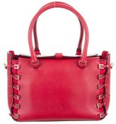Valentino Buckle-Embellished Leather Handle Bag