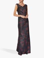 Gina Bacconi Calista Floral Maxi Dress, Navy/Pink