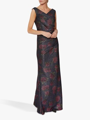 Gina Bacconi Calista Floral Maxi Dress, Navy/Pink
