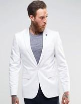 Asos Skinny Blazer In White Cotton Sateen