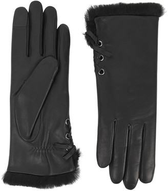 Agnelle Aliette Fur-lined Leather Gloves