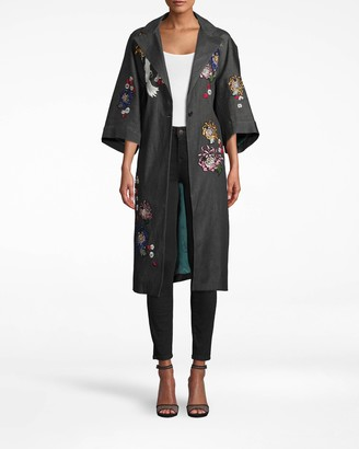 Nicole Miller Crane And Cherry Blossom Denim Coat