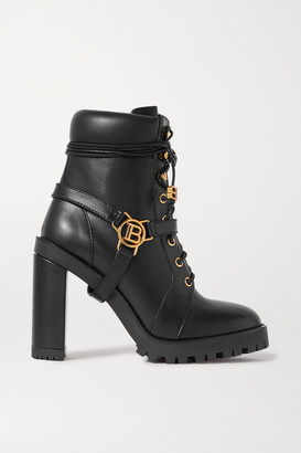 Balmain Ranger Buckle-detailed Leather Ankle Boots - Black