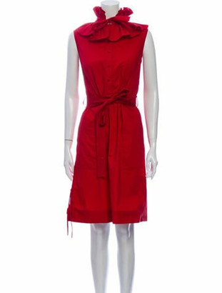 Oscar de la Renta 2016 Knee-Length Dress Red