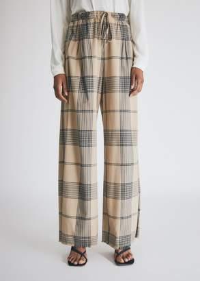 Raquel Allegra Women's Paper Bag Trouser in Mocha Plaid, Size 3