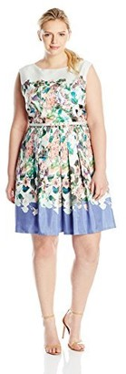 Julian Taylor Women's Plus-Size Belted Floral Print Dress