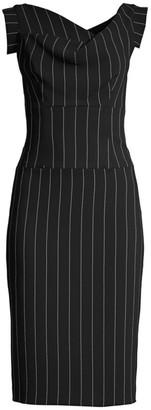 Black Halo Jackie O Pinstripe Midi Dress