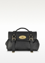 Alexa Black Polished Buffalo Leather With Soft Gold Satchel Bag