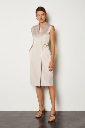 Karen Millen D Ring Detail Collar Wrap Dress