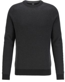 HUGO BOSS Two Tone Structured Jacquard Sweater In Recycled Yarn - Black