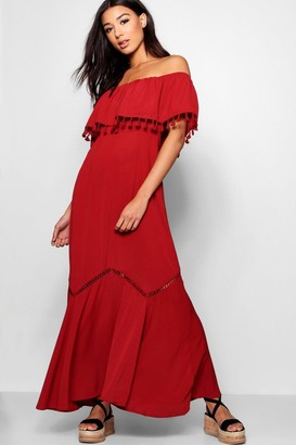 boohoo Off The Shoulder Tassel Trim Maxi Dress