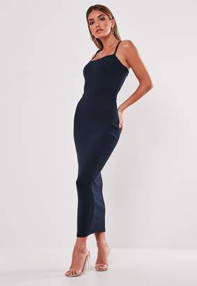 Missguided Navy Ribbed Strappy Bodycon Midi Dress