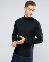 Lindbergh Long Sleeved T-Shirt With Roll Neck In Black
