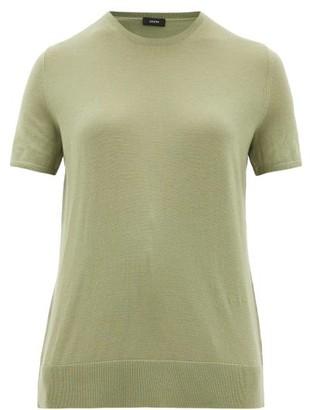 Joseph Fine Wool-blend T-shirt - Womens - Light Green