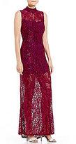 Marina Mock Neck Lace Column Gown