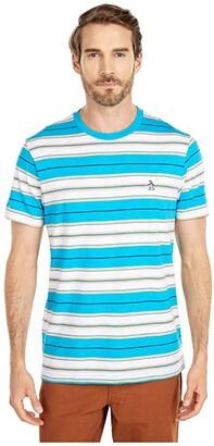 Original Penguin Engineered Stripe Tee (Caribbean Sea) Men's T Shirt