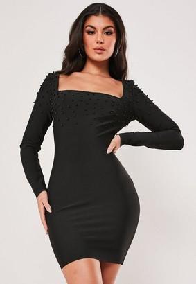 Missguided Premium Black Bandage Embellished Mini Dress