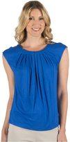 Larry Levine Women's Cap Sleeve Tuck Neck Zipper Top