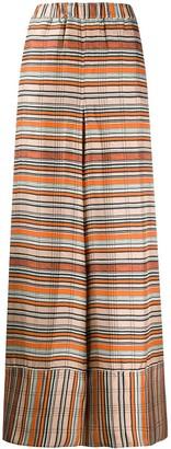 Pierre Louis Mascia Striped Silk Wide-Leg Trousers