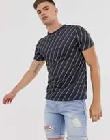 Burton Menswear t-shirt with diagonal stripe in navy