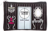 Lulu Guinness Embroidered Satin Zip Pouch