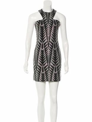Balmain Embellished Chevron Dress w/ Tags Black