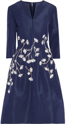 Oscar de la Renta Flared Appliqued Silk-faille Dress