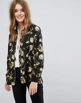 Just Female Elay Leaves Print Bomber