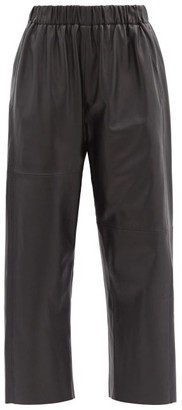 MM6 MAISON MARGIELA High-rise Cropped Leather Trousers - Black