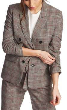 1 STATE 1.State 1.state Ruched-Sleeve Plaid Blazer