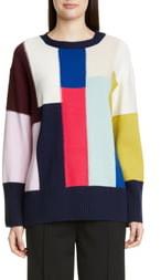 St. John Patchwork Wool & Cashmere Sweater