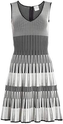 Herve Leger Lurex Stripe Fit-&-Flare Dress