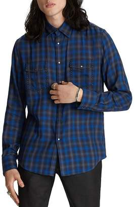 John Varvatos Collection Snap-Front Plaid Slim Fit Shirt