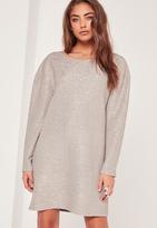Missguided Crinkle Metallic Oversized Dress Silver