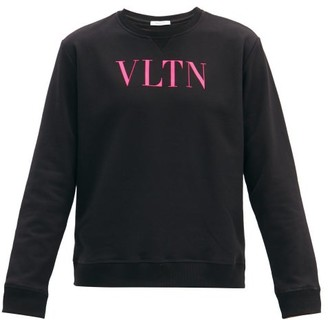 Valentino Vltn-print Cotton-blend Jersey Sweatshirt - Black Pink