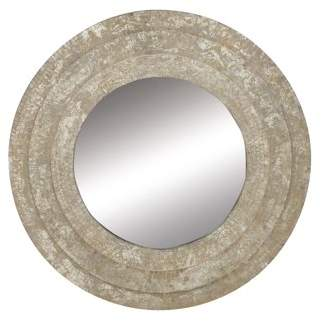 Decmode 3-Layered 30 Inch Round Wood And Metal Wall Mirror, Gray