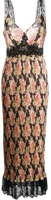 Paco Rabanne rose print pleated slip dress