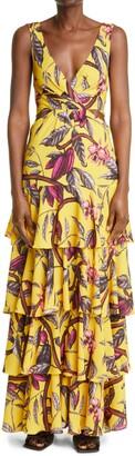 Johanna Ortiz Nature's Eloquence Floral Cutout Tiered Dress