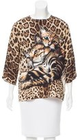Dolce & Gabbana Leopard & Cat Print Silk Top w/ Tags