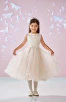 Girl's Joan Calabrese For Mon Cheri Beaded Lace & Tulle First Communion Dress