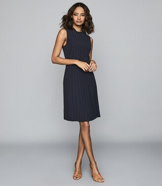 Reiss Linnea - Pleated Sleeveless Mini Dress in Navy