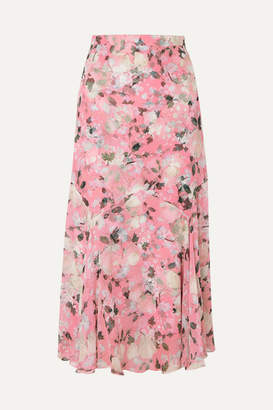 Erdem Shea Floral-print Silk-voile Midi Skirt - Pink