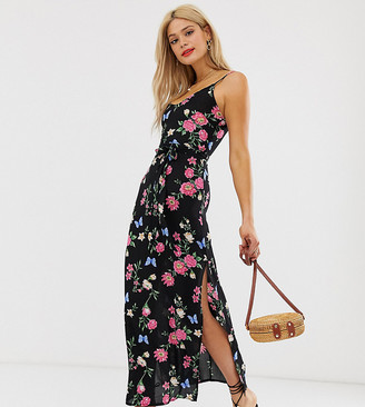 Parisian Tall cami strap maxi dress in black floral