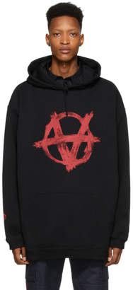Vetements Black and Red Anarchy Hoodie