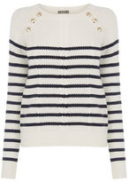 """Oasis Military stripe cable knit [span class=""""variation_color_heading""""]- Multi Blue[/span]"""