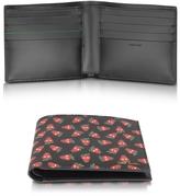 Paul Smith Men's Black Leather Strawberry Skull Print Billfold Wallet