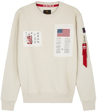 Alpha Industries Blood Chit Appliqued Cotton-blend Sweatshirt