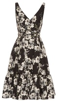 Erdem Gaby Rose Hip Night-print flounce-hem dress