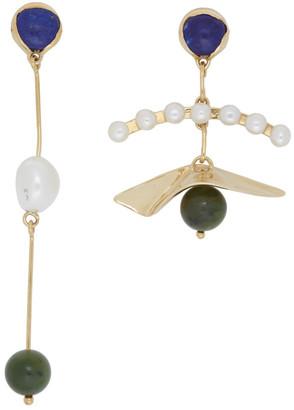 FARIS Gold Mismatched Plie Earrings